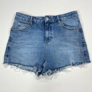 TOPSHOP Cutoff Denim Mom Shorts Size 8